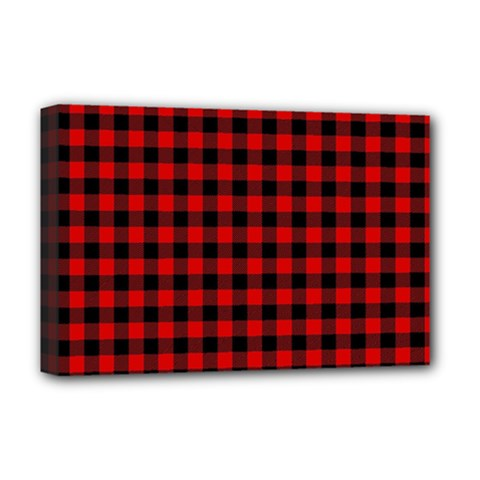 Lumberjack Plaid Fabric Pattern Red Black Deluxe Canvas 18  x 12