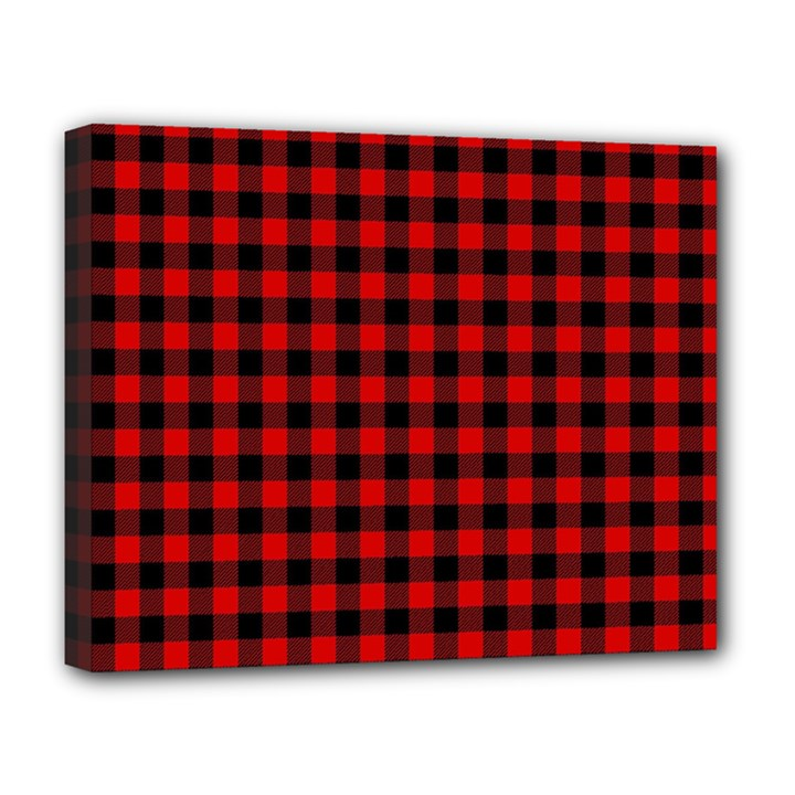 Lumberjack Plaid Fabric Pattern Red Black Deluxe Canvas 20  x 16