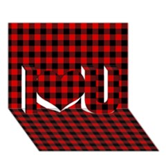 Lumberjack Plaid Fabric Pattern Red Black I Love You 3D Greeting Card (7x5)
