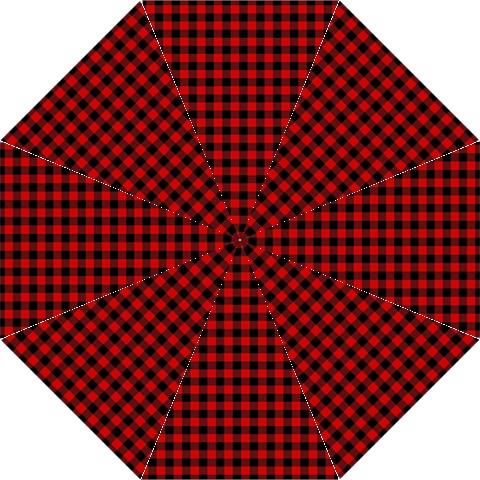 Lumberjack Plaid Fabric Pattern Red Black Hook Handle Umbrellas (Medium)