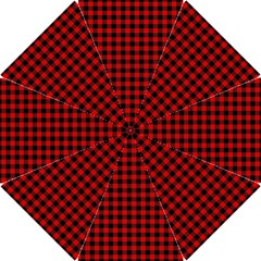 Lumberjack Plaid Fabric Pattern Red Black Hook Handle Umbrellas (Large)