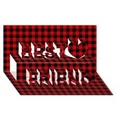 Lumberjack Plaid Fabric Pattern Red Black Best Friends 3d Greeting Card (8x4)