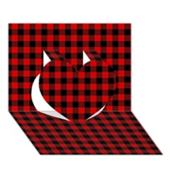 Lumberjack Plaid Fabric Pattern Red Black Heart 3D Greeting Card (7x5)
