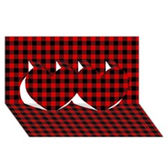 Lumberjack Plaid Fabric Pattern Red Black Twin Hearts 3D Greeting Card (8x4)