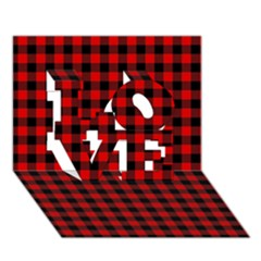Lumberjack Plaid Fabric Pattern Red Black Love 3d Greeting Card (7x5)
