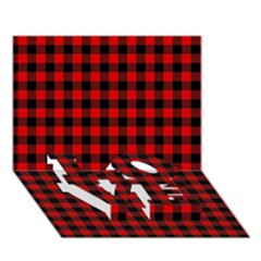 Lumberjack Plaid Fabric Pattern Red Black LOVE Bottom 3D Greeting Card (7x5)