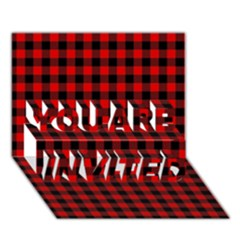 Lumberjack Plaid Fabric Pattern Red Black YOU ARE INVITED 3D Greeting Card (7x5)