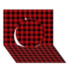 Lumberjack Plaid Fabric Pattern Red Black Circle 3D Greeting Card (7x5)