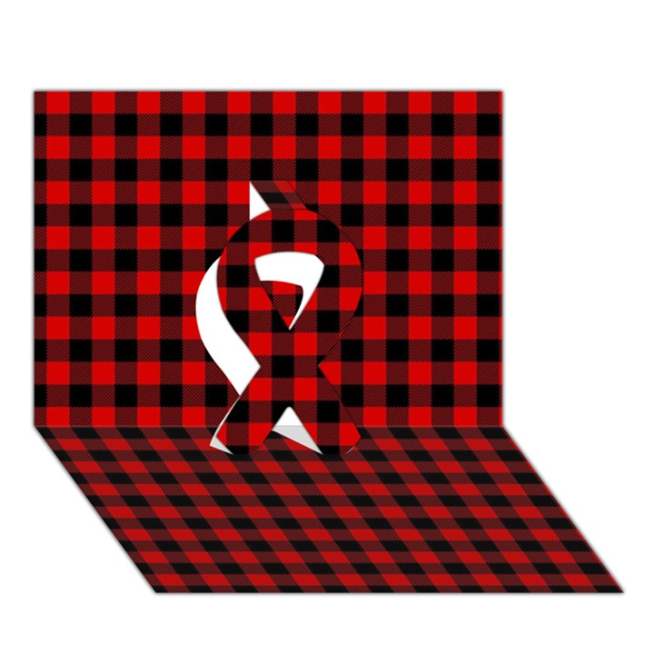 Lumberjack Plaid Fabric Pattern Red Black Ribbon 3D Greeting Card (7x5)