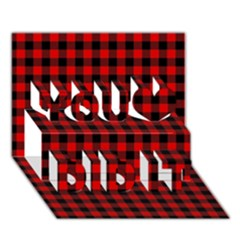 Lumberjack Plaid Fabric Pattern Red Black You Did It 3D Greeting Card (7x5)