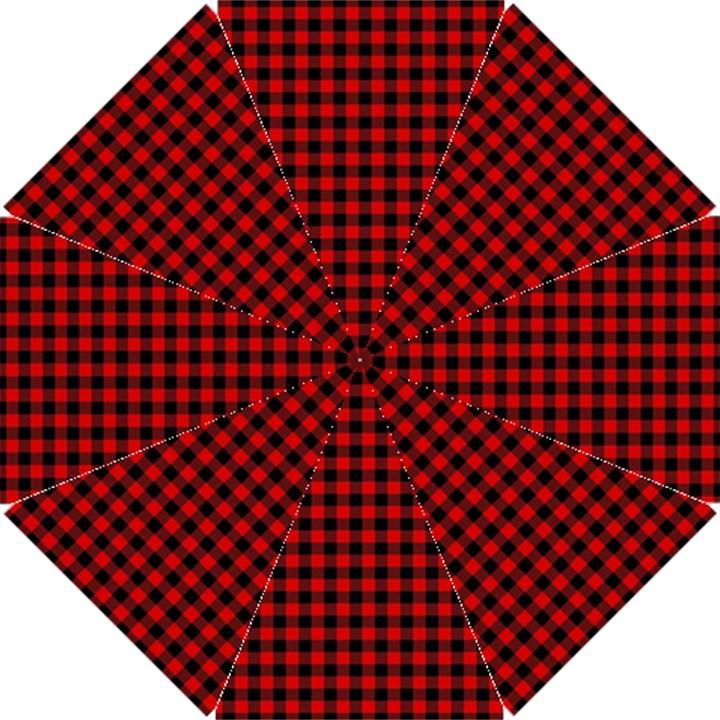 Lumberjack Plaid Fabric Pattern Red Black Hook Handle Umbrellas (Small)