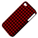 Lumberjack Plaid Fabric Pattern Red Black Apple iPhone 4/4S Hardshell Case (PC+Silicone) View4
