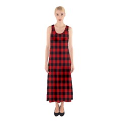 Lumberjack Plaid Fabric Pattern Red Black Sleeveless Maxi Dress