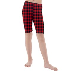 Lumberjack Plaid Fabric Pattern Red Black Kids  Mid Length Swim Shorts