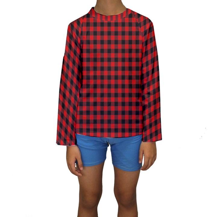 Lumberjack Plaid Fabric Pattern Red Black Kids  Long Sleeve Swimwear