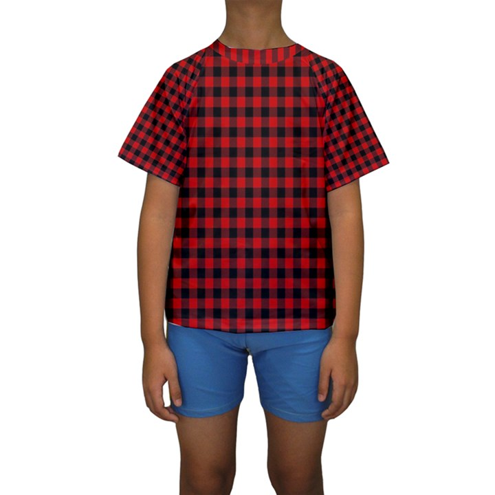 Lumberjack Plaid Fabric Pattern Red Black Kids  Short Sleeve Swimwear