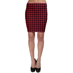 Lumberjack Plaid Fabric Pattern Red Black Bodycon Skirt