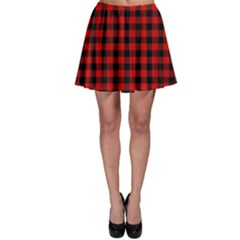 Lumberjack Plaid Fabric Pattern Red Black Skater Skirt