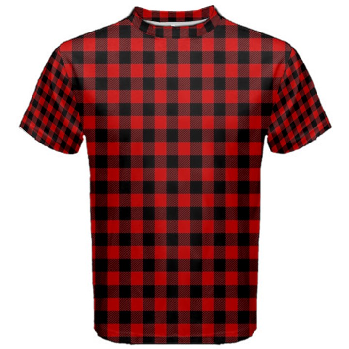 Lumberjack Plaid Fabric Pattern Red Black Men s Cotton Tee