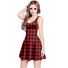 Lumberjack Plaid Fabric Pattern Red Black Reversible Sleeveless Dress
