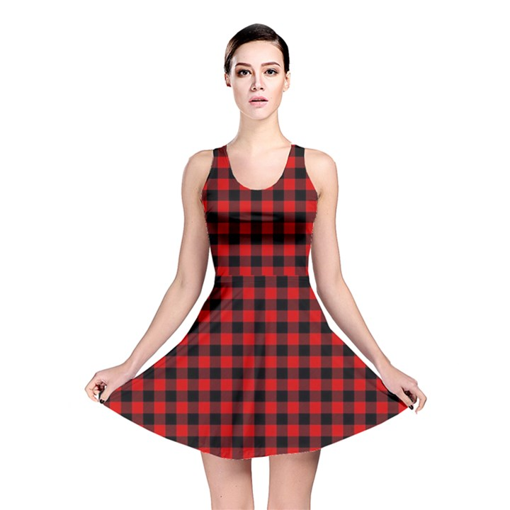 Lumberjack Plaid Fabric Pattern Red Black Reversible Skater Dress