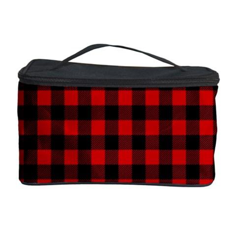 Lumberjack Plaid Fabric Pattern Red Black Cosmetic Storage Case