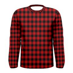 Lumberjack Plaid Fabric Pattern Red Black Men s Long Sleeve Tee