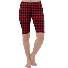 Lumberjack Plaid Fabric Pattern Red Black Cropped Leggings