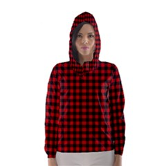 Lumberjack Plaid Fabric Pattern Red Black Hooded Wind Breaker (women)