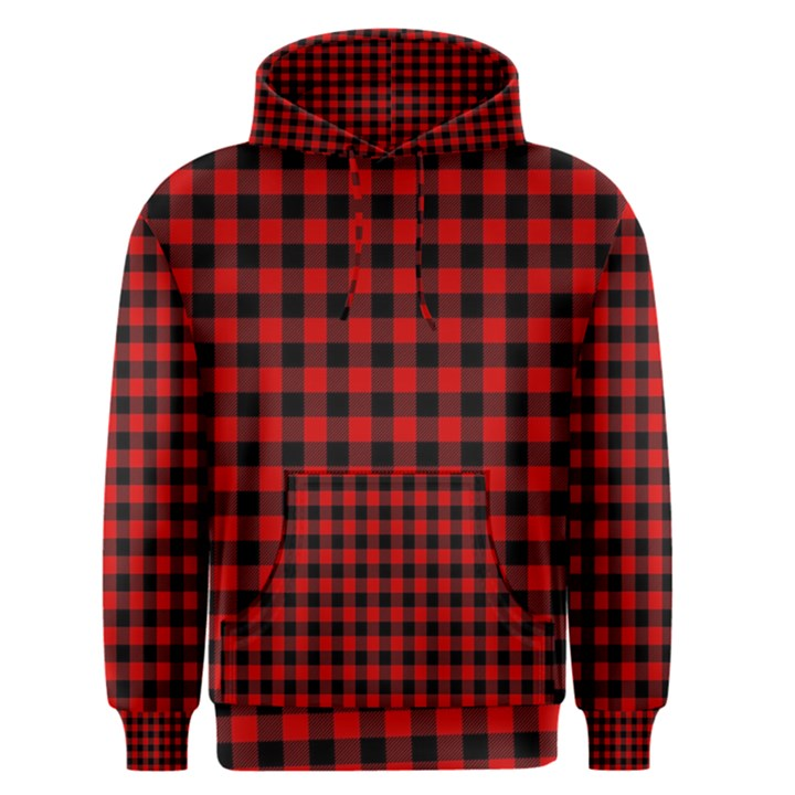 Lumberjack Plaid Fabric Pattern Red Black Men s Pullover Hoodie