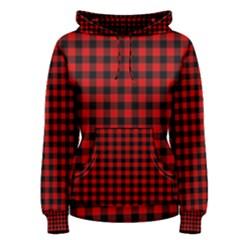 Lumberjack Plaid Fabric Pattern Red Black Women s Pullover Hoodie