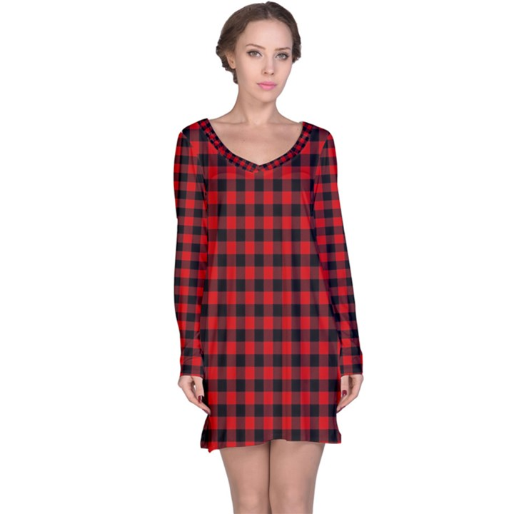 Lumberjack Plaid Fabric Pattern Red Black Long Sleeve Nightdress