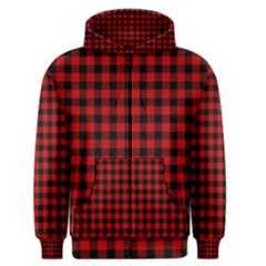 Lumberjack Plaid Fabric Pattern Red Black Men s Zipper Hoodie