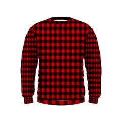 Lumberjack Plaid Fabric Pattern Red Black Kids  Sweatshirt
