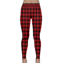 Lumberjack Plaid Fabric Pattern Red Black Yoga Leggings
