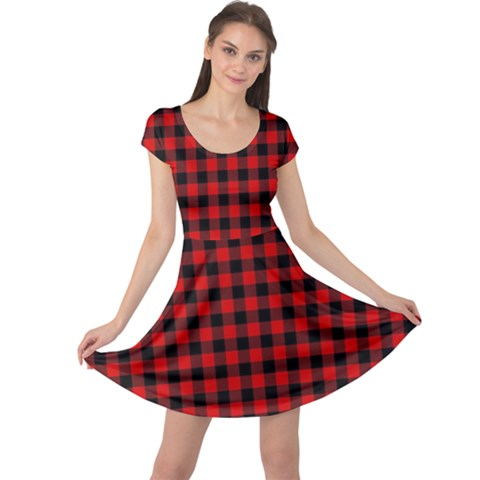 Lumberjack Plaid Fabric Pattern Red Black Cap Sleeve Dresses