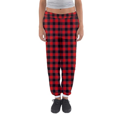 Lumberjack Plaid Fabric Pattern Red Black Women s Jogger Sweatpants
