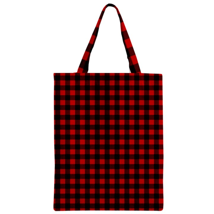 Lumberjack Plaid Fabric Pattern Red Black Zipper Classic Tote Bag