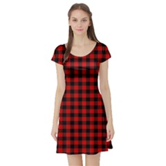 Lumberjack Plaid Fabric Pattern Red Black Short Sleeve Skater Dress