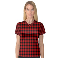 Lumberjack Plaid Fabric Pattern Red Black Women s V-Neck Sport Mesh Tee