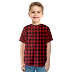Lumberjack Plaid Fabric Pattern Red Black Kids  Sport Mesh Tee