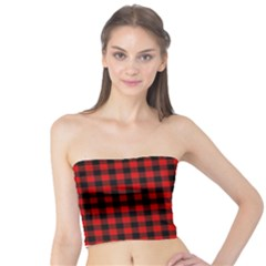 Lumberjack Plaid Fabric Pattern Red Black Tube Top