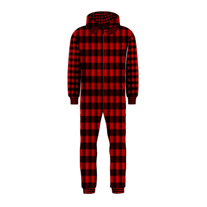 Lumberjack Plaid Fabric Pattern Red Black Hooded Jumpsuit (Kids)