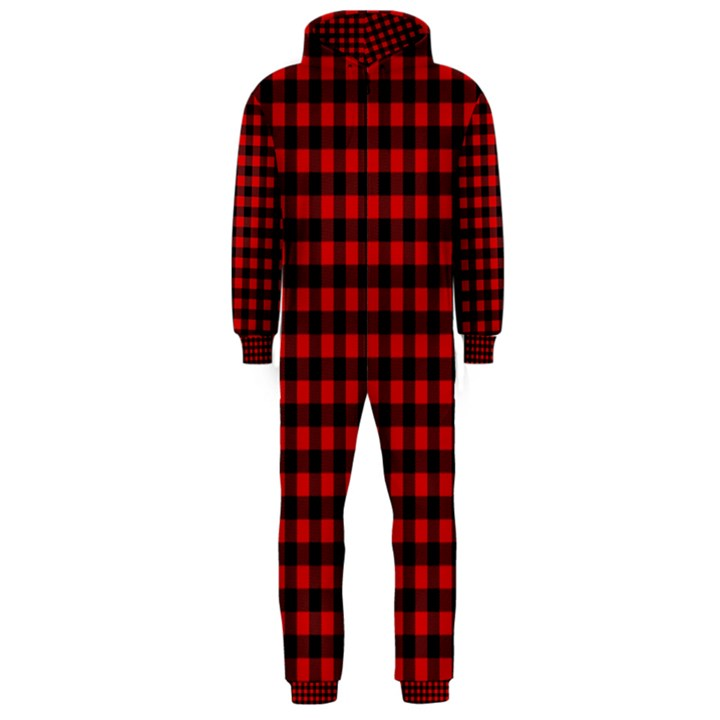 Lumberjack Plaid Fabric Pattern Red Black Hooded Jumpsuit (Men)