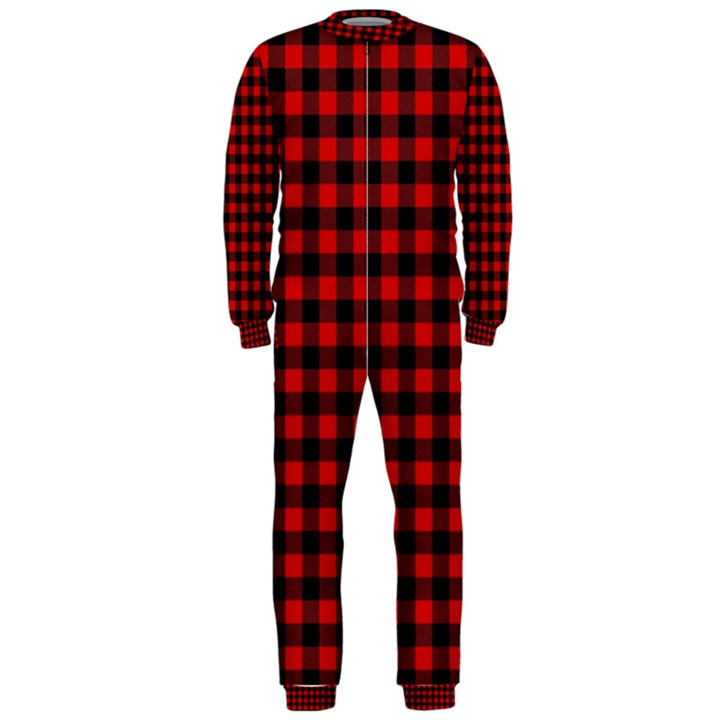 Lumberjack Plaid Fabric Pattern Red Black OnePiece Jumpsuit (Men)