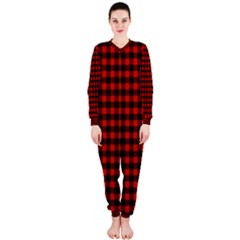 Lumberjack Plaid Fabric Pattern Red Black OnePiece Jumpsuit (Ladies)