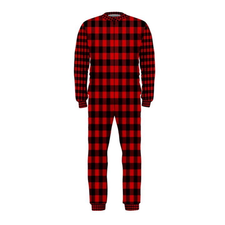 Lumberjack Plaid Fabric Pattern Red Black OnePiece Jumpsuit (Kids)