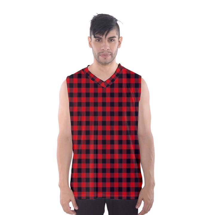 Lumberjack Plaid Fabric Pattern Red Black Men s Basketball Tank Top