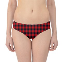 Lumberjack Plaid Fabric Pattern Red Black Hipster Bikini Bottoms