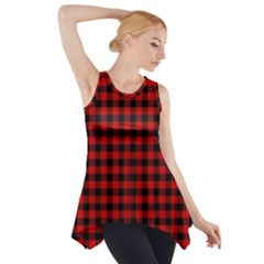 Lumberjack Plaid Fabric Pattern Red Black Side Drop Tank Tunic